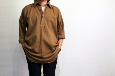 60's British Pullover shirts Cotton Drill material [ DeadStock ]