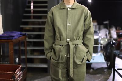Green Denim fabric [ story mfg ]